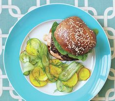 Spiced Beef Burger With Shaved Cucumber and Beet Salad #harissa mayo