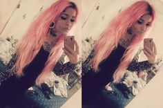 #pink #pinkhair #tatoo #piercing #scene #scenestyle #bodymods #earexpander #earstretching #plugs
