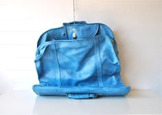 Vintage blue garment bag - American Tourister - wedding or fathers day gift via Etsy.
