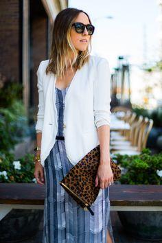 long dress white blazer