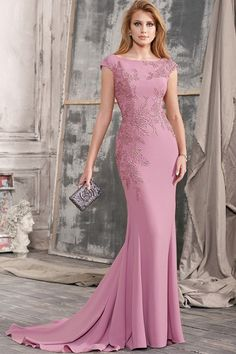 Exciting Chiffon Bateau Neckline Floor-length Mermaid Formal Dress With Lace AppliquesSweep/Brush Train Mother of the Bride Dress With Appliques Lace Petite Formal Dresses, Dresses Elegant, Girls Formal Dresses, Affordable Wedding Dresses, Satin Dresses, Lace Dress, Lace Chiffon, Dress Formal, Chiffon Dress