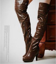 thigh high boots brown