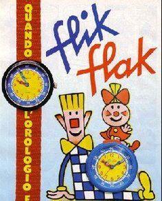 """Relojes Flick-Flack. """"Yo soy Flick, yo soy Flack, somos dos en un reloj, y mirándonos ya podrás decir, si ha llegado ya la hora de dormir"""""""