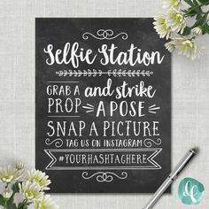 Chalkboard Selfie Station Sign / Wedding Photo Booth Sign /