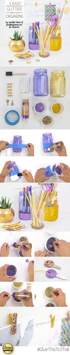 3 ways to get organized - make DIY desk decor with glitter! Get the how-to: http://www.aleenes.com/project/3-glitter-organizing-ideas from @jenniferppriest