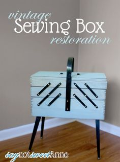 #Vintage Sewing Box #Makeover by @saynotsweetanne