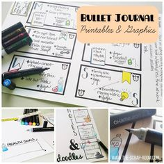 Bullet Journal Daily and Weekly Organizer Printables - 5 PACK! (PDF format -- just print, fill out and color in! Art Journal Prompts, Art Journal Techniques, Journal Ideas, Art Journal Backgrounds, Organization Bullet Journal, Art Journal Tutorial, Bullet Journal Printables, Vinyl Cutting, Art Journal Inspiration