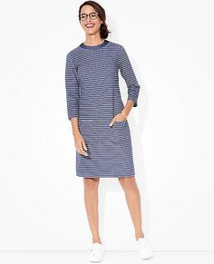 "Comfy textured knit in signature stripes looks simple and elevated on every type, and feels fantastic to wear.    <br>• 100% combed cotton interlock ottoman knit  <br>• Crewneck  <br>• Front patch pockets  <br>• Back zip closure  <br>• 37 1/2"" length (for size M)   <br>• Certified by OEKO-TEX® Standard 100 