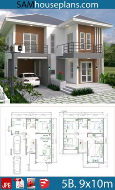 House plans with 5 beds – Sam house plans – - Home & DIY Two Story House Design, 2 Storey House Design, Duplex House Design, House Front Design, Modern House Design, House Plans Mansion, Duplex House Plans, Bungalow House Plans, Dream House Plans