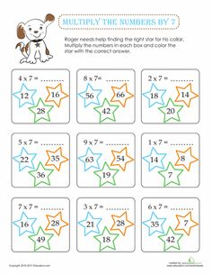Worksheets: Multiply the Numbers by 7