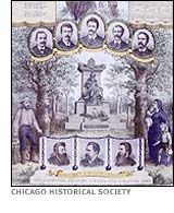 Haymarket Martyrs' Memorial lithograph issued by the Chicago Arbeiter-Zeitung, 1893 Industrial Revolution, Socialism, Social Studies, Chicago, Drama, Events, American, Places, People