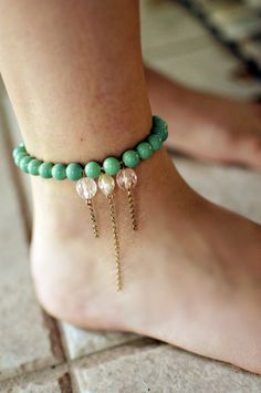 Green beaded anklet with dangle charms by NativeLivingJewelry, $25.00.....CUTE