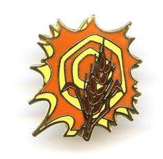 Vtg Orange & Brown Enamel Wheat Fall Harvest Thanksgiving Lapel Tie Tack Pin #NotSigned