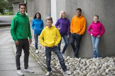Mikiny Just Hoods by AWDis - Our Group Shot of JH001 Kelly Green, Sapphire Blue, Sun Yellow, Purple, Orange Crush & Hot Pink