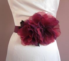red and purple organza flower bridal sash with Swarovski crystals