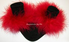 Marabou Fur Socks Custom Color Choice Trim Feathers Infant Baby Girls Toddler Accessories Christmas Pageant Wedding Party Costume Recital