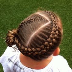 """""""Todays style is a French braid and a Dutch 5 strand braid into a flipped ponytail. I wanted it to be tight and neat! Love how it turned out. ❤️ Grace is…"""" Cute Girls Hairstyles, Pretty Hairstyles, Braided Hairstyles, Toddler Hairstyles, Bun Hairstyle, Princess Hairstyles, Hairstyles Videos, Hairstyles Haircuts, Wedding Hairstyles"""