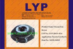 LYP-20431-45-6 VISCOUS FAN DRIVES / IMPULSORES DE VENTILADOR VICOSO OEM NUMBER - 16210-16010 REPLACEMENT FOR / REEMPLAZO PARA TOYOTA ENGINE MODEL - COROLLA 4A