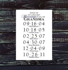 GRANDMA GIFT Grandchildren Birthday Dates Print. Personalize with Grammy, Nana, Mimi - Wall Art 5x7 or 8x10 via Etsy