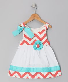 Another great find on #zulily! Coral & White Zigzag Lucy Mae Dress - Infant & Toddler #zulilyfinds