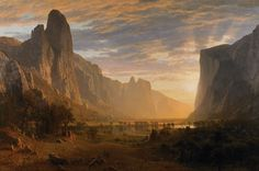Looking Down Yosemite Valley, California is a Hudson River School Oil on Canvas Painting created by Albert Bierstadt in It lives at the Birmingham Museum and Art Gallery in England. The image is in the Public Domain, and tagged Landscape and Mountains. Albert Bierstadt, California Dates, Valley California, California Art, California Camping, Nature Paintings, Landscape Paintings, Scenery Paintings, Watercolor Landscape