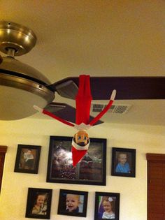 Hanging from the ceiling fan