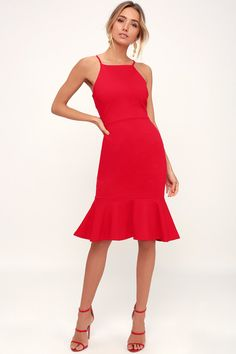5b98ddfe41c7 Lulus | This Could Be Love Red Bodycon Midi Dress | Size Large | 100%  Polyester