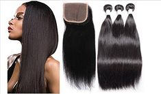 Straight Silky Hair Free Part Top Lace Closure With 3 Bundles Brazilian Virgin Hair 130 Density Lace Closure Natural Black Hair Color For Women 20 22 2420 >>> You can find more details by visiting the image link-affiliate link. Natural Black Hair Color, Beauty Salon Equipment, Hair Color For Women, Silky Hair, All Things Beauty, Lace Closure, Lace Tops, Virgin Hair, Good Skin