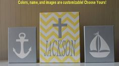 Nautical Nursery Decor Acrylic Painting Art Nautical Sailboat Anchor Cross Yellow Chevron Gray Personalized Nursery Letters Baby Name on Etsy, $65.00