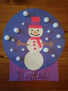 Snowman Snow Globe Craft - Snowgirl craft - Winter Craft