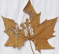 Obras de arte em folhas de Outono • Jardim de Siguta •