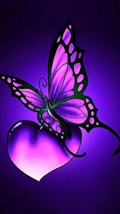New Butterfly Tattoo Color Purple Ideas Heart Wallpaper, Purple Wallpaper, Butterfly Wallpaper, Love Wallpaper, Cellphone Wallpaper, Wallpaper Backgrounds, Galaxy Wallpaper, Butterfly Painting, Butterfly Flowers