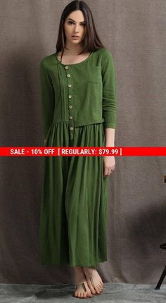 1c580900a98 Welcome to my shop and thanks for your interested to the moss green linen  dress.