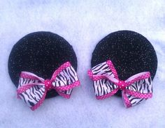 Glitter Minnie Mouse Ears on Hairclips with detachable Hairbows-Polka Dot-Zebra print