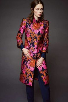 Orange & fuchsia embroidered  coat