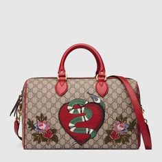 4de8ae1577b GUCCI Limited Edition Gg Supreme Top Handle Bag With Embroideries.