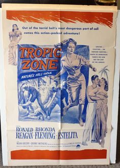 "Movie Poster  ""Tropic Zone""  Original RARE 1953 Movie Poster - Ronald Reagan   Rhonda Fleming by MoviePostersAndMore on Etsy"
