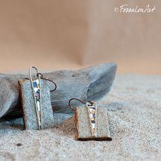 Earrings. Hemp twine, sand, seashells' chips. Handmade by FossalonArt