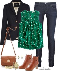 """J.Crew Polka Dots"" by archimedes16 on Polyvore"