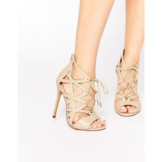 Windsor Smith Church Nude Ghillie Lace Up Heeled Sandals ($120) ❤ liked on Polyvore featuring shoes, sandals, nude, leather sandals, high heel sandals, nude sandals, nude heel sandals and nude shoes
