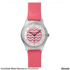 Coral Pink White Chevron Watches