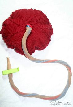 Pattern: Knitted Placenta and Umbilical Cord  by CraftedBirth
