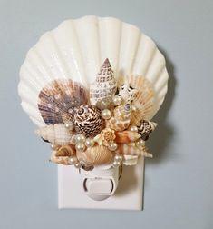 Artisan handmade seashell night light featuring beautiful colorful shells. Perfect for coastal or nautical beach decor or they make beautiful beach gifts! Seashell Projects, Seashell Crafts, Beach Crafts, Seashell Art, Night Lite, Seashell Wreath, Beach House Decor, Beach Houses, Coastal Decor