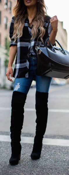 #fall #fashion / plaid + boots