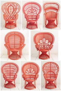Living Coral Peacock Chairs Buy now from homevestures Cane Furniture, Rattan Furniture, Painted Furniture, Furniture Design, Coral Chair, Rattan Peacock Chair, Architecture Art Design, Wicker Chairs, Dining Chairs