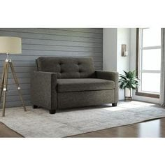 DHP Donna Grey Linen Twin Sleeper Sofa with Memoir Memory Foam Mattress, Gray Linen Finish Sofa Seat Cushions, Sofa Seats, Couches, Sectional Sofa, Devon, Twin Sleeper Sofa, Pull Out Bed, Foam Mattress, Air Mattress
