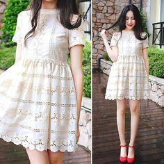 Rosa - Larmoni Cut Out Embroidery Dress - Cut-Out