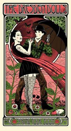 Art Nouveau Dresden Dolls Poster @Thea Bjerre