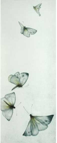 """Le Vent du Printemps by  Mikio Watanabe  Mezzotint, 2003 Image size: 7 ¾"""" x 19 ½"""""""