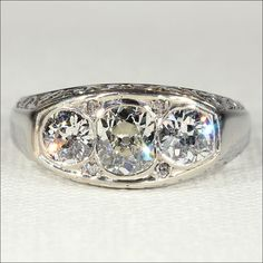 Vintage French Art Deco Diamond Ring with 1.8ctw in 18k White Gold, for a Man or a Woman from Victoria Sterling Antique Jewelry